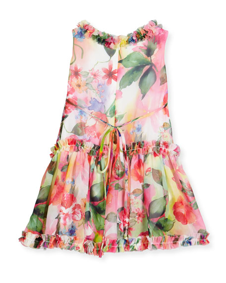 Sleeveless Smocked Floral Chiffon Dress, Multicolor, Size 7-14