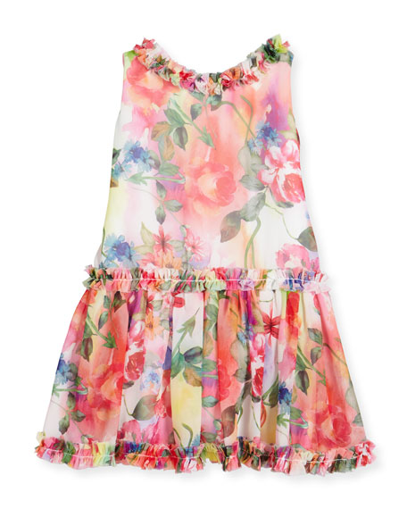 Helena Sleeveless Smocked Floral Chiffon Dress, Multicolor, Size