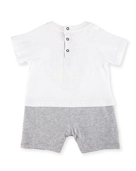 Cotton Jersey Logo Shortall, White, Size 3-18 Months