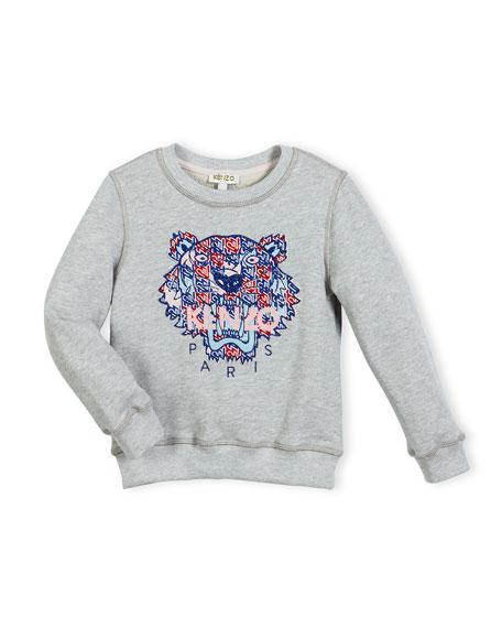 Kenzo Abstract Logo Crewneck Pullover Sweatshirt, Gray/Royal,