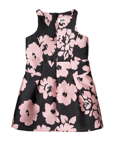 Milly Minis Sleeveless Floral Twill Racerback Dress, Pink,
