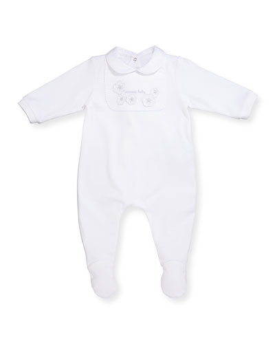 Long-Sleeve Floral Jersey Footie Pajamas, White, Size 3-12 Months