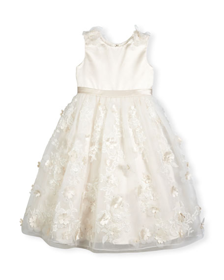 Sleeveless Satin & Embroidered Tulle Special Occasion Dress, Ivory, Size 4-14