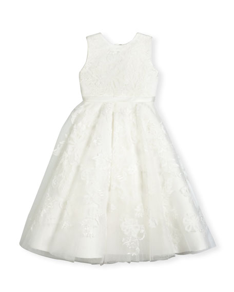 Joan Calabrese Sleeveless Embroidered Tulle Special Occasion