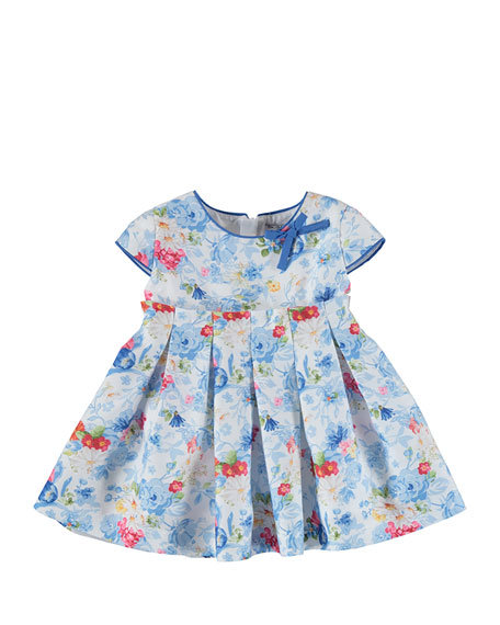 Cap-Sleeve Pleated Floral Sateen Dress, Cobalt, Size 6-36 Months