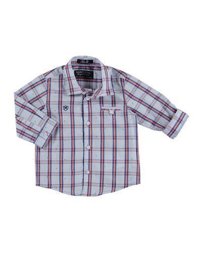 Long-Sleeve Windowpane Check Poplin Shirt, Tangerine/Blue, Size 12-36 Months