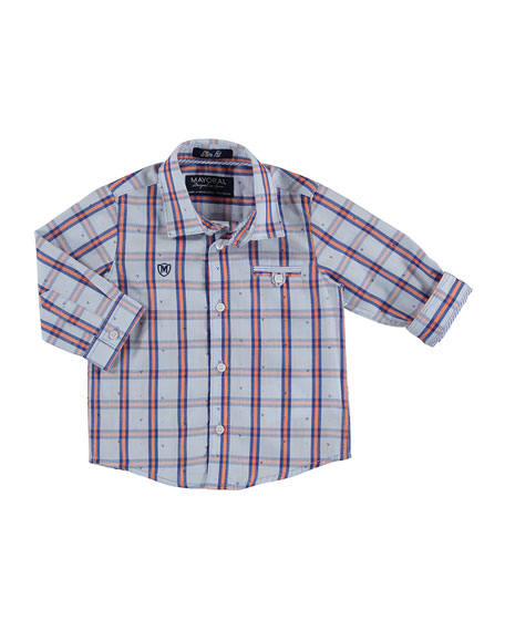 MAYORAL Long-Sleeve Windowpane Check Poplin Shirt,