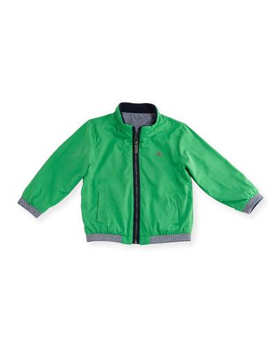 Reversible Zip-Front Bomber Jacket, Green, Size 12-36 Months
