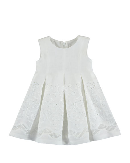 MAYORAL Sleeveless Eyelet Embroidered Pleated Dress, Neutral,