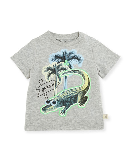 Stella McCartney Chuckle Beach Alligator Jersey Tee, Gray,