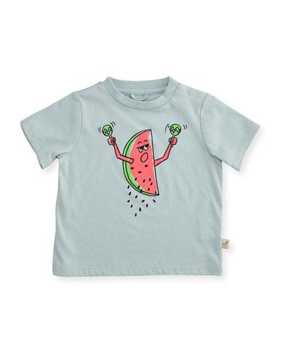 Short-Sleeve Watermelon Jersey Tee, Blue, Size 12-24 Months