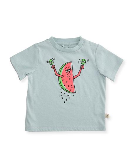 Stella McCartney Short-Sleeve Watermelon Jersey Tee, Blue, Size
