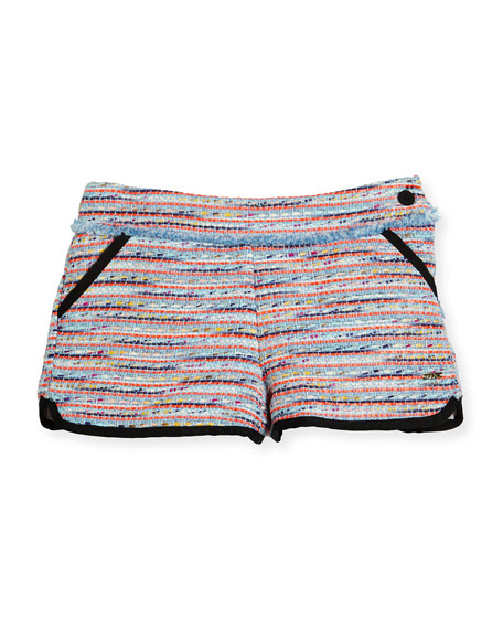 Karl Lagerfeld Tweed Fringe Dolphin Shorts, Multicolor, Size