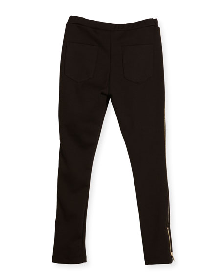 Milano Piped Ponte Leggings, Black, Size 4-5