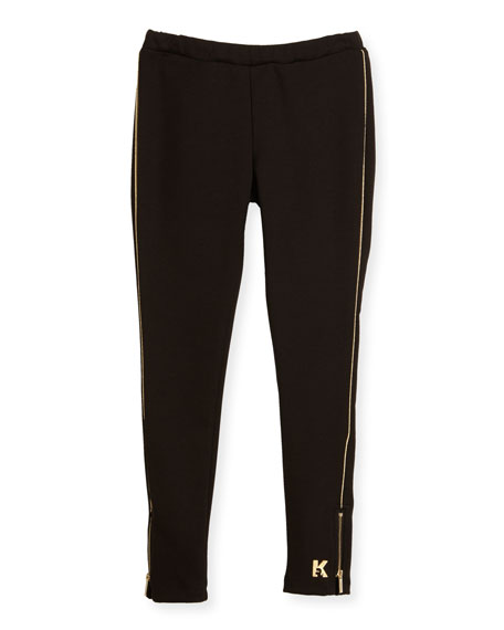 Karl Lagerfeld Milano Piped Ponte Leggings, Black, Size