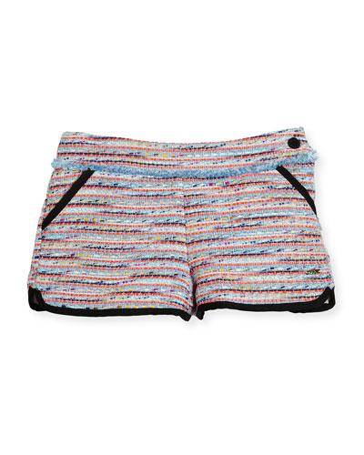 Tweed Fringe Dolphin Shorts, Multicolor, Size 6-10