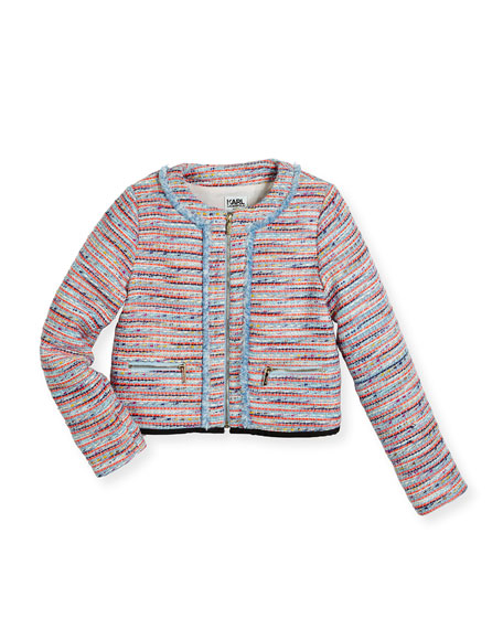 Karl Lagerfeld Tweed Fringe Zip-Front Jacket, Multicolor, Size