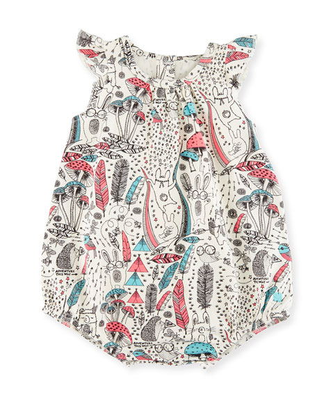 bonniemob Printed Stretch Jersey Bubble Playsuit, Pink/White,