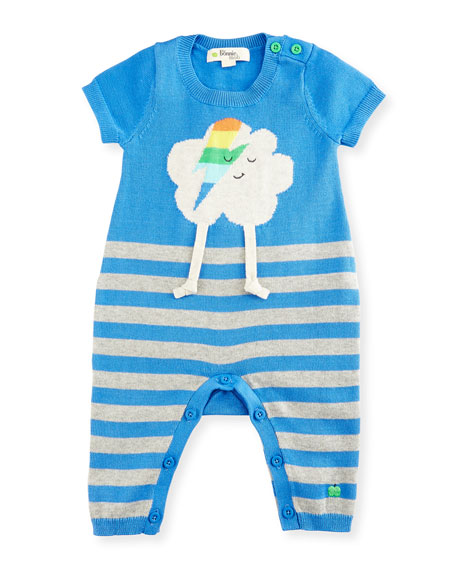 bonniemob Ziggy Flash Cloud Intarsia Striped Playsuit, Blue,