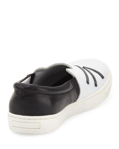 Karl Lagerfeld Leather Choupette Slip-On Sneaker, Black/White, Toddler