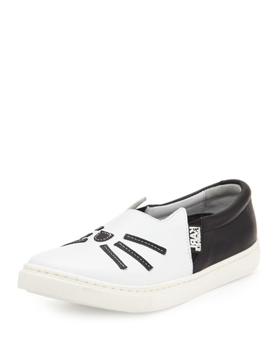 Leather Choupette Slip-On Sneaker, Black/White, Toddler