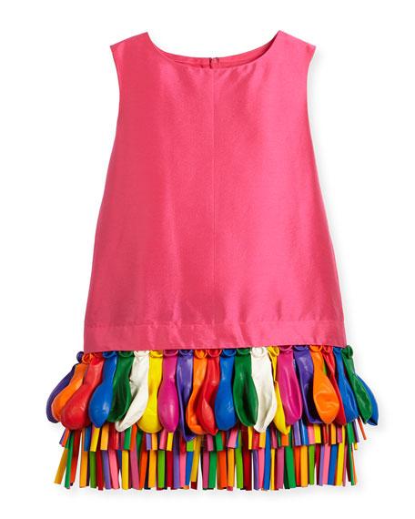 Ida Sleeveless Taffeta Shift Dress w/ Balloons, Size 2-4