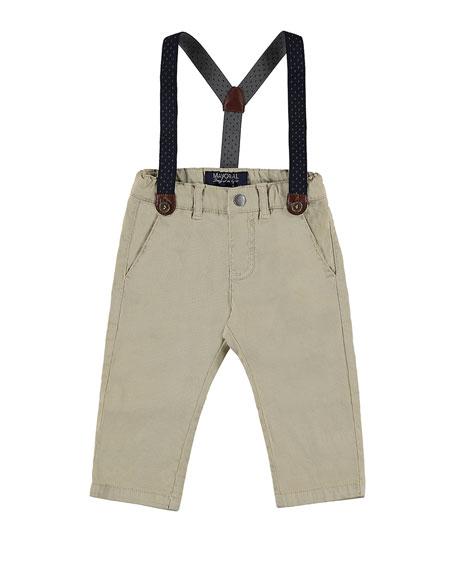 MAYORAL Stretch Twill Straight-Leg Pants w/ Suspenders, Sand,