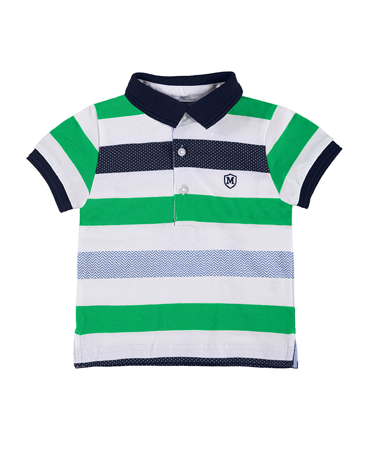 d94196e7 MAYORALStriped Cotton Jersey Polo Shirt, Green/Multicolor, Size 6-36 Months