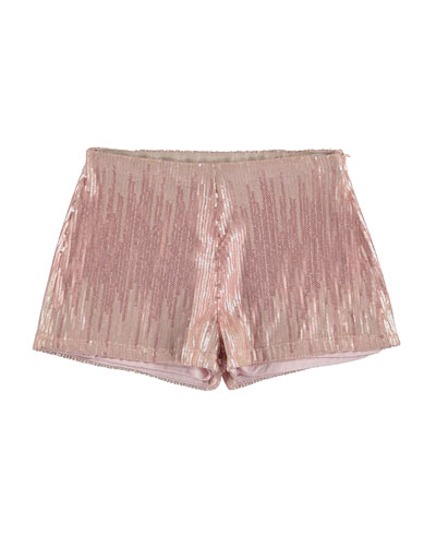 Striped Sequin Shorts, Light Rose, Size 8-16