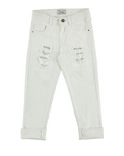 Distressed Stretch Skinny Jeans, White, Size 8-16