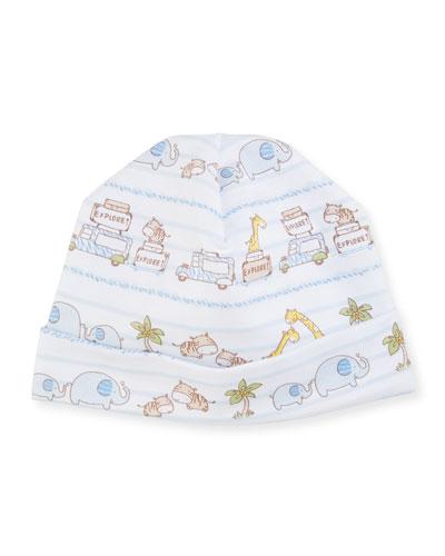 Safari Excursion Baby Hat, Blue/White