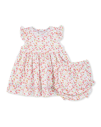 Pixie Flowers Smocked Jersey Dress w/ Bloomers, Red/White, Size 6-24 Months