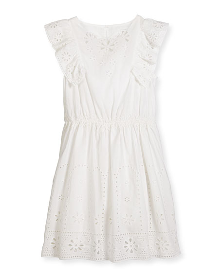 Alabama Sleeveless Smocked Eyelet Dress, White, Size 4-14
