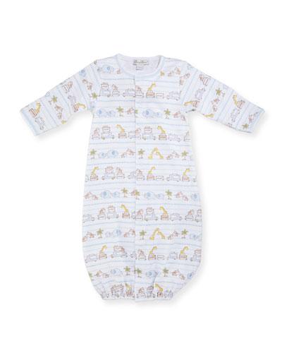 Safari Excursion Convertible Pima Sleep Gown, Blue/White, Size Newborn-Small