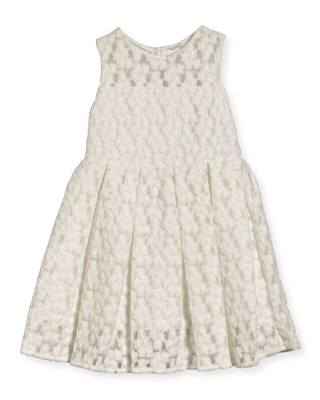 Milly Minis Sleeveless Embroidered Pleated Dress, White, Size