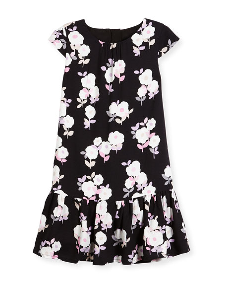 kate spade new york Floral Crepe Flounce Dress