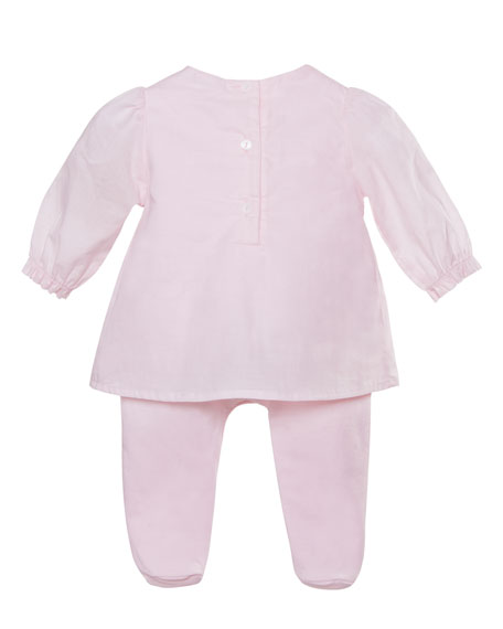 Patachou Long-Sleeve Bibbed Coverall Dress, Pink, Size 1-9