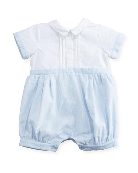 Patachou Pintucked Stripe & Polka-Dot Bubble Shortall, Blue,