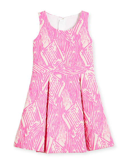 Pleated Jacquard Fit-and-Flare Dress, Pink, Size 8-14