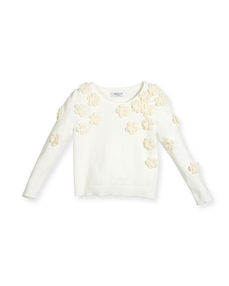 Floral Pullover Sweater, White, Size 4-7