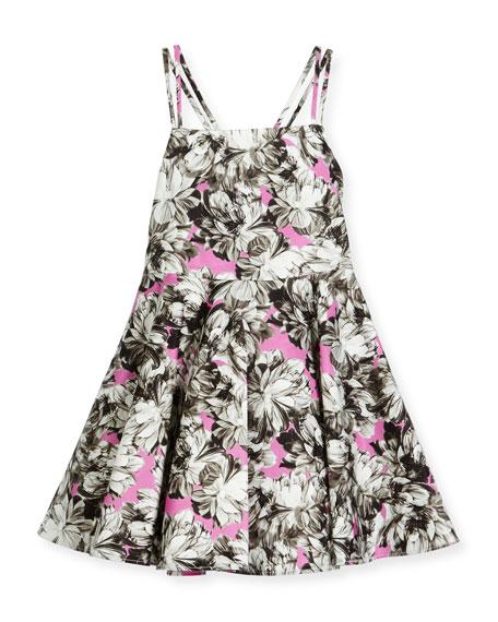 Milly Minis Double-Strap Stretch Jersey Peony Dress, Pink,