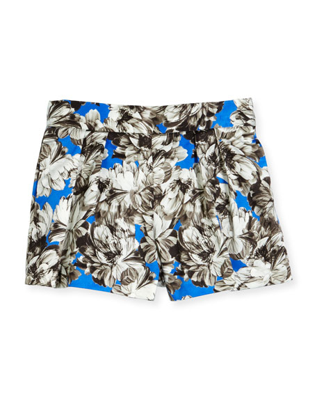 Milly Minis Pleated Peony Shorts, Cobalt, Size 8-14