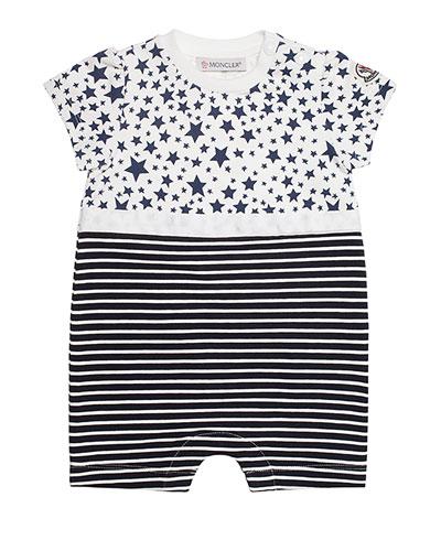 Stretch Jersey Stars & Stripes Romper, Navy, Size 3-18 Months