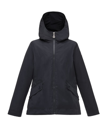 Moncler Derecia Long Hooded Lightweight Jacket, Navy, Size