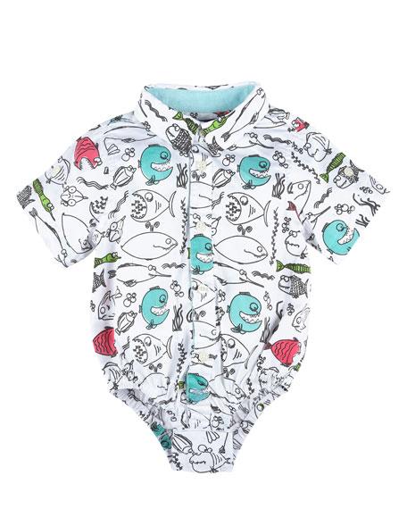 Andy & Evan Short-Sleeve Poplin Fish Shirtzie™, White/Blue,