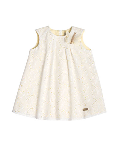 Sleeveless Poplin Eyelet Swing Dress, White, Size 2-6