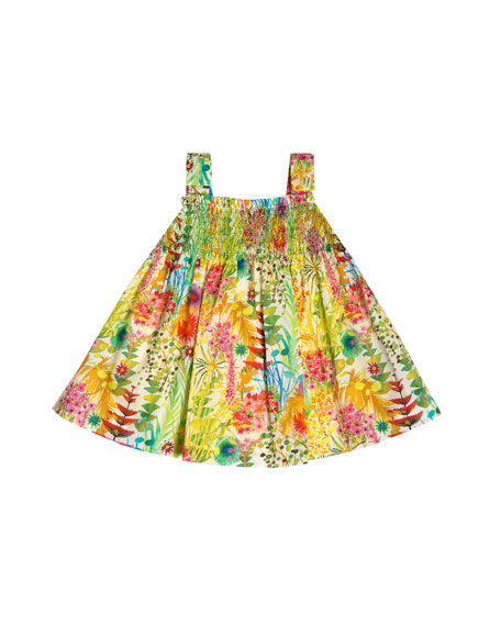 Liberty Jungle Embroidered Poplin Sundress, Green/Multicolor, Size 2-6