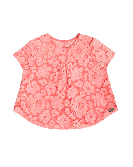 Pili Carrera Short-Sleeve Boxy Lace Top, Pink, Size