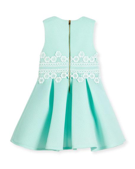 Sleeveless Pleated Lace-Trim Mesh Neoprene Dress, Aqua Blue, Size 4-10