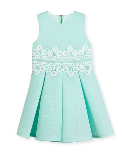 Sleeveless Pleated Lace-Trim Mesh Neoprene Dress, Aqua Blue, Size 4-10